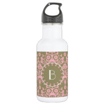 Elegant Damask Pattern with Monogram Stainless Steel Water Bottle