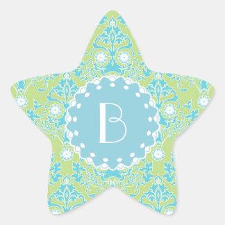 Elegant Damask Pattern with Monogram Star Sticker