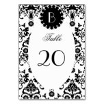 Elegant Damask Pattern with Monogram Table Cards