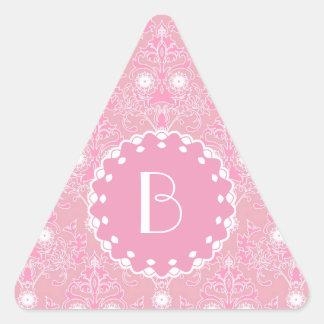Elegant Damask Pattern with Monogram Triangle Sticker