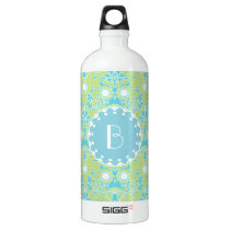 Elegant Damask Pattern with Monogram Water Bottle