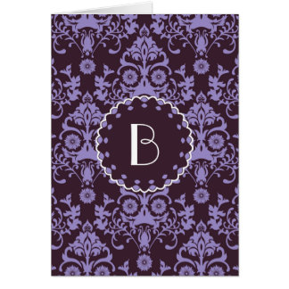 Elegant Damask Pattern with MonogramElegant damask Greeting Card
