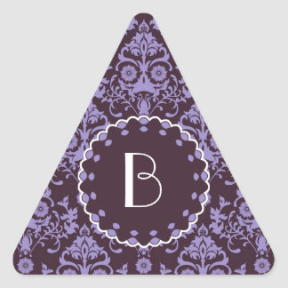 Elegant Damask Pattern with MonogramElegant damask Triangle Sticker