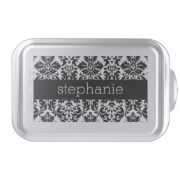 Elegant Damask Patterns with Black and White Cake Pan
