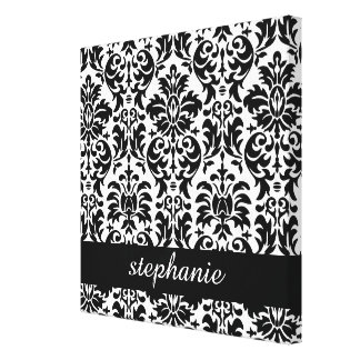 Elegant Damask Patterns with Black and White Gallery Wrapped Canvas