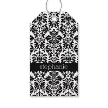 Elegant Damask Patterns with Black and White Gift Tags