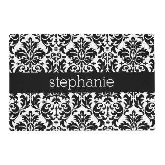 Elegant Damask Patterns with Black and White Laminated Placemat