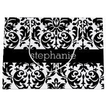 Elegant Damask Patterns with Black and White Large Gift Bag