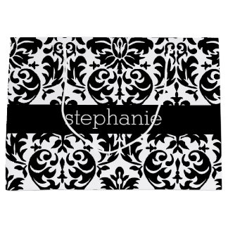 Elegant Damask Patterns with Black and White Large Gift Bag