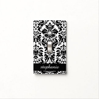 Nursery light switch covers zazzle elegant damask patterns with black and white light switch cover sciox Gallery