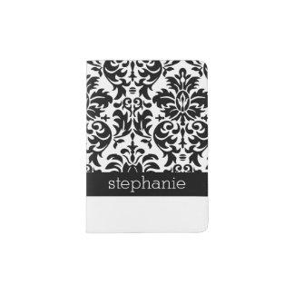 Elegant Damask Patterns with Black and White Passport Holder