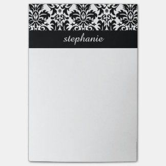 Elegant Damask Patterns with Black and White Post-it Notes