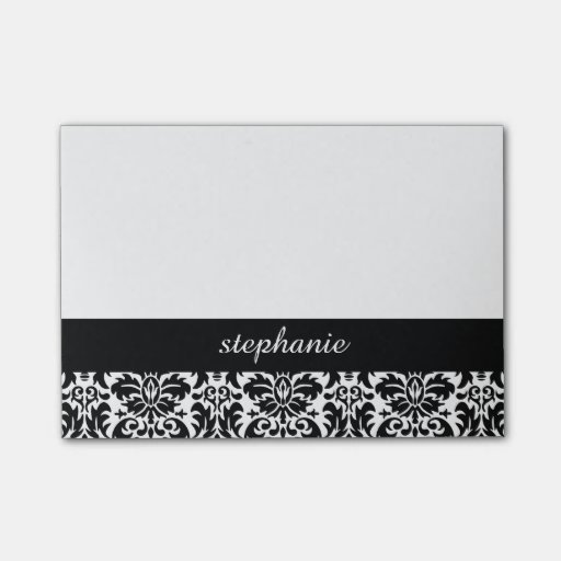 Elegant Damask Patterns with Black and White Post-it(r) Notes