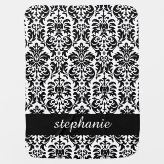 Elegant Damask Patterns with Black and White Receiving Blanket