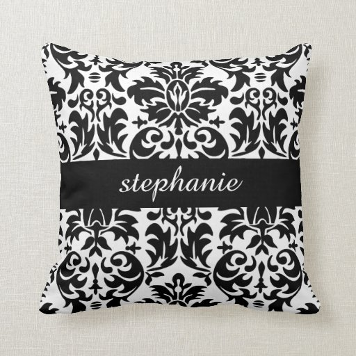 Damask Throw Pillows Black White : Elegant Damask Patterns with Black and White Throw Pillows Zazzle