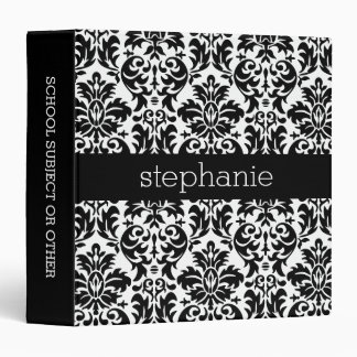 Elegant Damask Patterns with Black and White Vinyl Binder