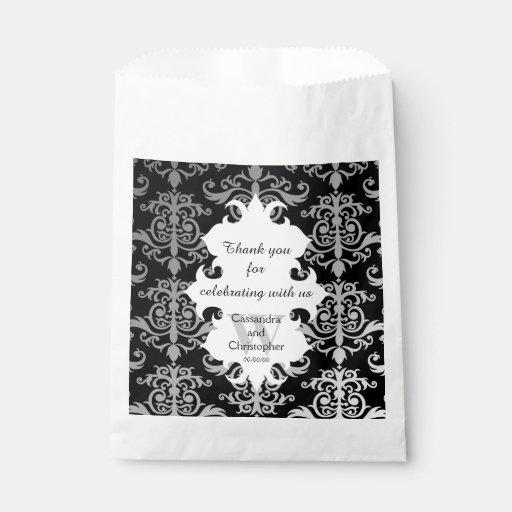 Elegant Wedding Gift Bags : Elegant damask personalized monogrammed wedding favor bags Zazzle