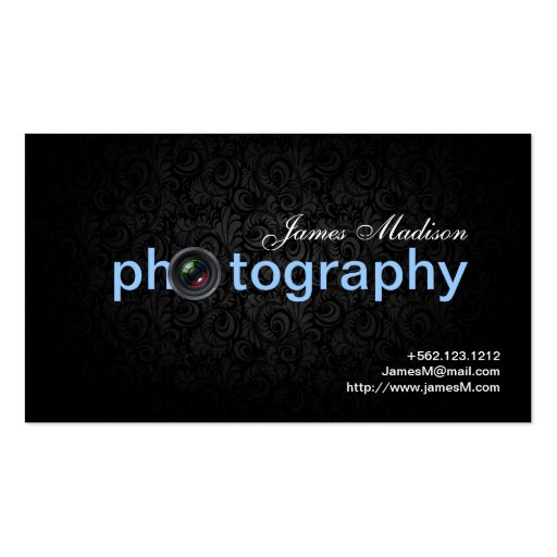 Elegant Damask Photogrpahy Business cards with QR