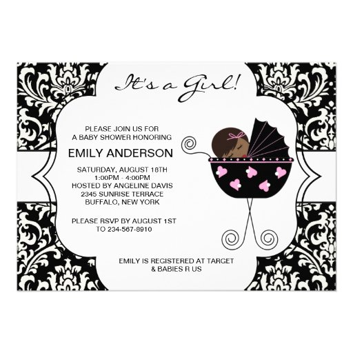 Elegant Damask Pink Black Baby Girl Shower Invitations