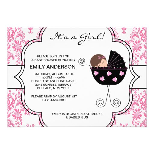 Elegant Damask Pink Black Baby Girl Shower Personalized Invite
