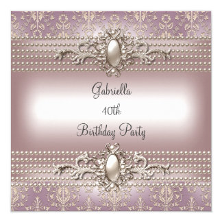 Elegant Damask Pink Cream Pearl Birthday Party Card