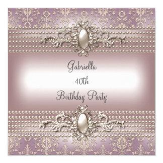 Elegant Damask Pink Cream Pearl Birthday Party Card