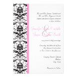 Elegant Damask Pink Stripe Wedding Invitations