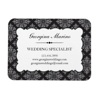 Elegant Damask Professional Business Magnet
