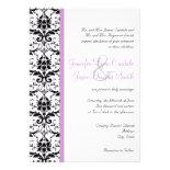 Elegant Damask Purple Stripe Wedding Invitations