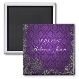 elegant damask purple wedding save the date magnet