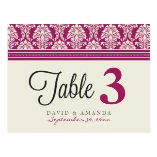 Elegant Damask Reception Table Number Placecards Postcard