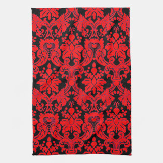 Elegant Damask Red/ Black Hand Towel