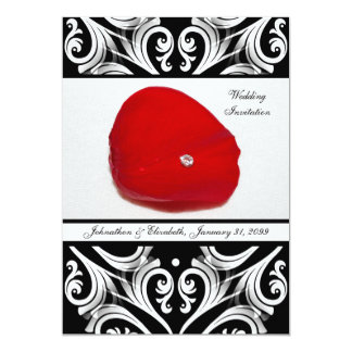 Elegant Damask Red Rose Petal Wedding Announcement