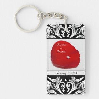 Elegant Damask Red Rose Petal Wedding Announcement Keychain