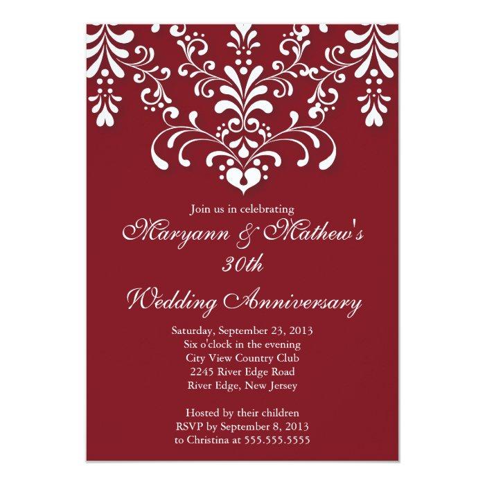 Elegant damask red wedding anniversary invitation zazzle