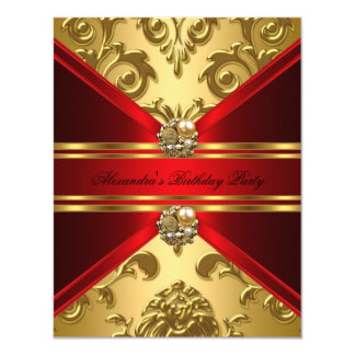 Elegant Damask Regal Red Gold Floral Birthday 4.25x5.5 Paper Invitation Card