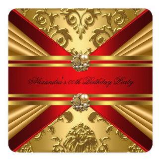 Elegant Damask Regal Red Gold Floral Birthday 5 Card