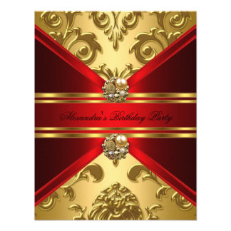 Elegant Damask Regal Red Gold Floral Birthday Personalized Invitations
