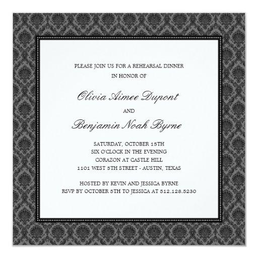 Elegant Damask Rehearsal Dinner Invitation Invites