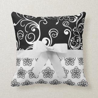 Elegant Damask Ribbon Throw Pillow