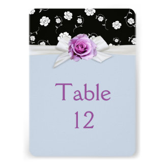 Elegant Damask Rose Ribbon Blue Table card