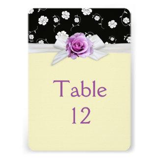 Elegant Damask Rose Ribbon Ivory Table card