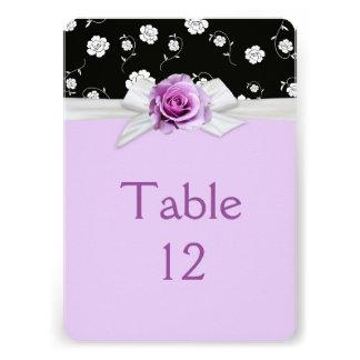 Elegant Damask Rose Ribbon Lavender Table card