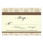 Elegant Damask RSVP Card (chocolate/cream) Personalized Invites