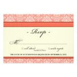 Elegant Damask RSVP Card (coral) Invite