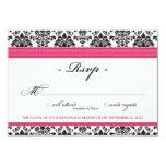 "Elegant Damask RSVP Card (fuchsia) 3.5"" X 5"" Invitation Card"