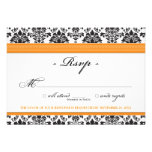 Elegant Damask RSVP Card (orange) Personalized Invitation