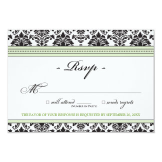 Elegant Damask RSVP Card (sage)