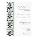 Elegant Damask Sage Stripe Wedding Invitation