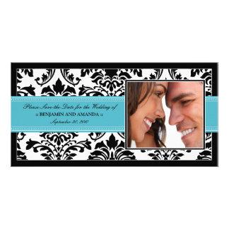 Elegant Damask Save-the-Date Photocard: aqua Card